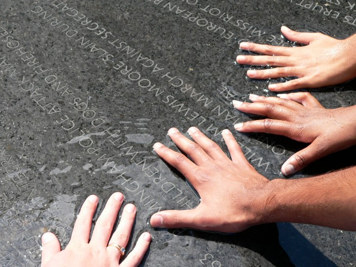 hands at the Montgomery civil rights memorial